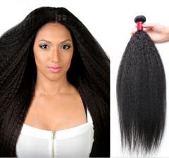 Kinky Straight Hair 7A Mink Brazilian Hair Weave 1Bundles Yaki Straight Human Hair Extensions 1b 8