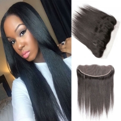 100% human hair straight 13x4 ear to ear lace frontals closures best match with hair weaves 1b 6inch