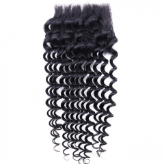 malaysian remy hair closures cheap price deep wave hair pieces malaysian curly 4x4 lace closures 1b 8inch