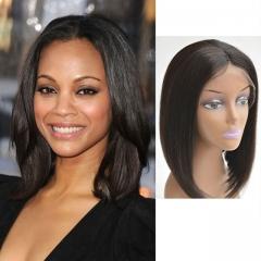 brazilian human hair full lace wig cheap human hair straight 1pcs natural color bob style hair wig 1b 8inch