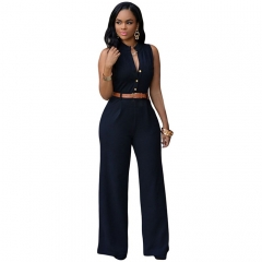 Sexy V-neck Sleeveless Long Bodysuit Elegant Rompers Womens Jump suit Playsuit Overalls black XXL