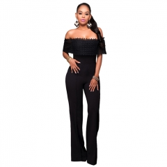 Women Fashion Elegant Sexy Strapless Jumpsuit black S