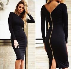 Women Simple Round Collar Long SLeeve Zipper Design Skinny Midi Dress black s