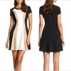 2017  Women Fashion stitching was thin short-sleeved dress white s