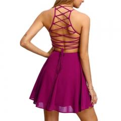 Fashion Sexy Halter Bandage Dress Chiffon Dress purple S