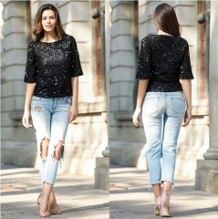 2017 New Fashion Sequined T-shirt Women Tops black S