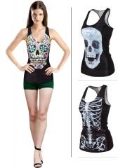 New Fashion Women Starry  Wind Cute Hip Hop Skull Shirt 1 xl