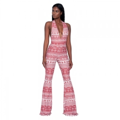 1pcs New Fashion Sexy Printed Piece Pants Jumpsuits Women Rompers 1 S