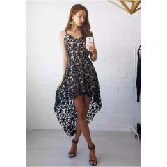 1pcs New Fashion Sexy Elegant Lace Dresses Irregular Skirt Pendulum Dress black S