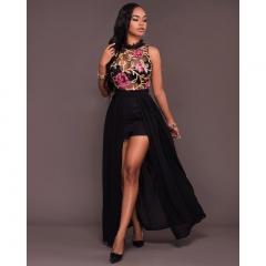 2017 New Fashion sexy embroidery dress Chiffon Long Dress black S