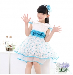 New Summer  Kids Girl Clothes Sky Bule  Princess Tutu Dress Sky bule+Hairband 100
