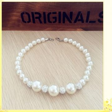 Little Girls Dress Accessories Collocation Exquisite Diamond Pearl Necklace White 28CM