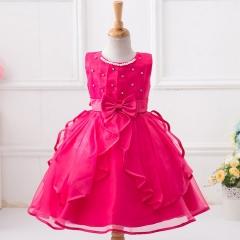 Children Fashion Wedding Dress Kids Girl Princess Gown Deep-pink 100