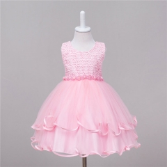 Flower Girl Dress Kids Princess Student Birthday Party Gown Pink 100