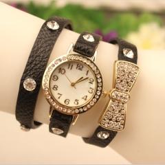 New Women Watch Fashion Bow Casual Bracelet Quartz Analog Lady Watch black