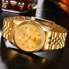 Nice Watch Man Watch Fashion Quartz Analog Golden Watch no.1