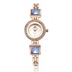 Blue Rhinestone Watch Women Watch Fashion Quartz Analog Golden Girl Watch no.1