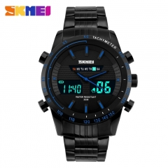 Waterproof Outdoor Sports Wristwatchs Men's Digital Military WristWatch Full Steel Clock Men blue
