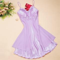 M-XL 2016 Women Sexy Silk Lace Nightgowns Chiffon V-Neck purple M