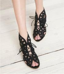 Big Size 33-42 Fashion Cutouts Lace Up Women Sandals Open Toe Low Wedges Bohemian Summer Shoes black 36