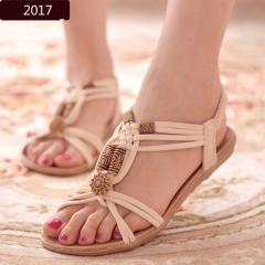 Women Sandals shoes woman Flat 2016 Summer Beige color 5