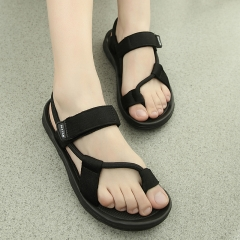New style retro shoes, casual sports, breathable lovers, beach shoes, Rome sandals black 35