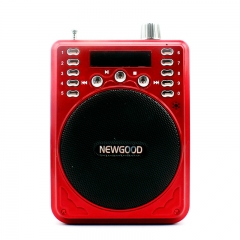 Bluetooth Speaker Megaphone Card MP3 Music Player Portable FM Radio Record With Mic red F37A