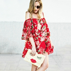 Sweet Spaghetti Strap Flounce Short Sleeve Floral Print Loose Mini Dress for Women RED ONE SIZE