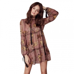Long Sleeve High Waist Retro Beach Dress COFFEE S