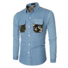 Casual Camouflage Pocket Decoration Male Long Sleeve Denim Shirt LAKE BLUE m