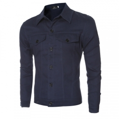 Casual Letter Print Pocket Decoration Male Long Sleeve Jacket deep blue m