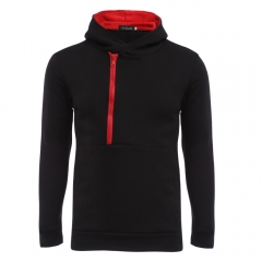 Casual Color Block Zipper Design Male Pullover Hoodie RED BLACK M