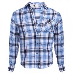 Casual Grid Design Slim Fit Male Long Sleeve Shirt azure m