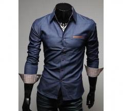 Casual Style Lapel Collar Pockets Design Bleach Wash Long Sleeves Denim Shirt For Men DEEP BLUE M