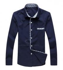 Elegant Men's Fashion Checked Splicing Slimming Long Sleeve Shirt NAVY BLUE l