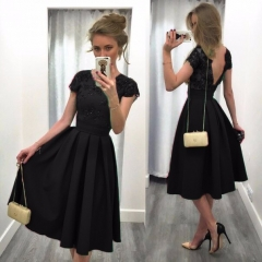 Fashion dress Backless Short Sleeve o-neck dress for women summer clothing Lace pleated Black S