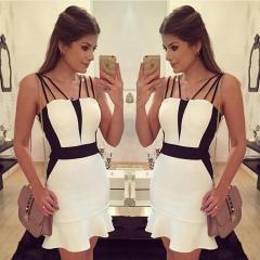 Europe and America sexy Condole Belt tied waist Dress Woman Fashion Print Dress white s