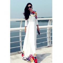 Women Flower Print Half Sleeve A-Line High Waist Long Maxi Dress white s