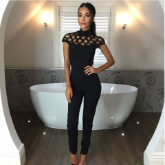 high neck cut out bandage bodysuits sexy Long Sleeve hollow out shoulder Ladies Jumpsuits black s