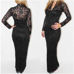 V-neck long sleeves bodycon Lace Women Maxi Dress black s