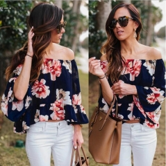 2016 Sexy Women Off Shoulder 3/4 Sleeve Floral Ruffles Blouse Tops blue textile printin l