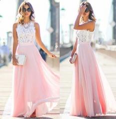 Sexy Women Cap Sleeve Maxi Dress Floral Hollow Patchwork Party Slim Long Dress pink s