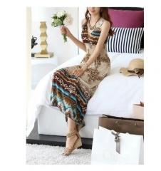 Boho Print V Neck Long Beach Dress Multicolor khaki one size