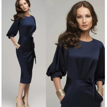 New Women Summer Casual Office Lady Formal Party Evening Cocktail Midi Dress navy blue m