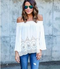 Women Off Shoulder Long Sleeve Crochet Hem Tops Shirt Blouse white s