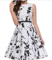 1950's Floral Party Cocktail Dress White s