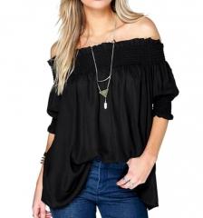 Women Elastic Off Shoulder Half Sleeve Shirt Tops Blouse black s