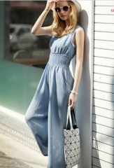 European High Waist Loose Jumpsuit Light Blue one size