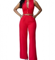 Sexy Sleeveless Button Loose Long Jumpsuit Romper red s