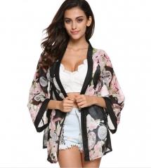 Romantic Floral Print Chiffon Sunblock Kimono Top Cardigan Flowers one size